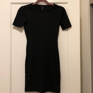 Textured Fitted Little Black Dress